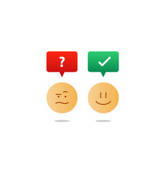 Opposite emotions smile emoji sad icon customer vector
