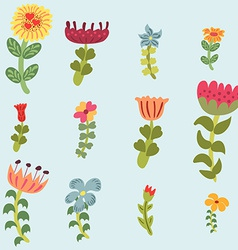 Original doodle hand drawn flowers set vector image