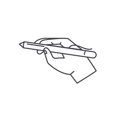 pen in hand line icon concept pen in hand vector image