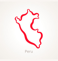 peru - outline map vector image