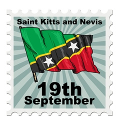 post stamp of national day of Saint Kitts and Nevi vector image