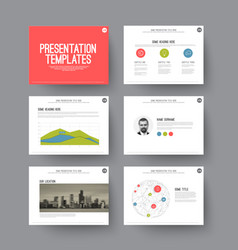 Presentation slides with infographic elements vector