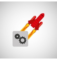 Red rocket concept business teamwork cooperation vector