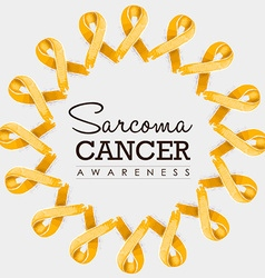 Sarcoma cancer awareness ribbon design with text vector image