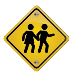 school crossing traffic sign icon vector image