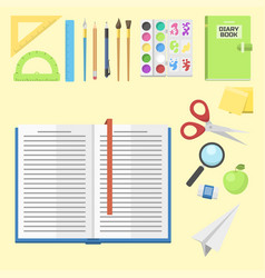 School supplies children stationary educational vector