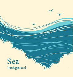 Sea wavesseascape horizon for text vector