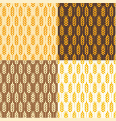 Seamless wheat background patterns vector
