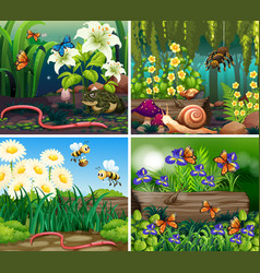 set background scene with flowers and insects vector image