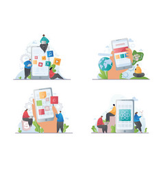 Set four depictions mobile apps and websites vector