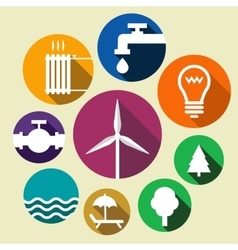Set of environment friendly icons vector image