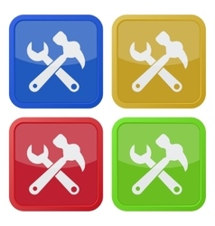 set of four square icons claw hammer with spanner vector image
