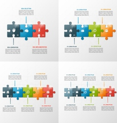 Set of puzzle style infographic templates vector