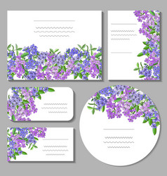 Set with floral templates on white background vector