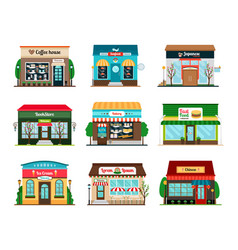 shop and cafe colorful icons vector image