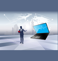 Silhouette business man point on laptop computer vector