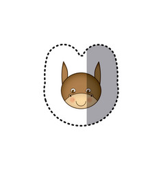 small sticker colorful picture face cute donkey vector image
