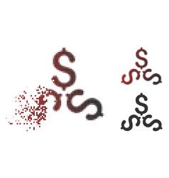 Sparkle pixel halftone dollar trinity icon vector