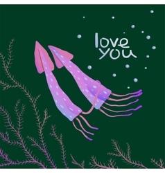 Squids Love Cartoon Greeting Card Design vector image