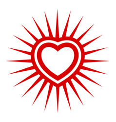 sunshine heart icon simple style vector image