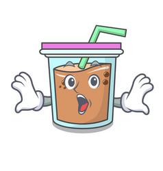 Surprised bubble tea mascot cartoon vector