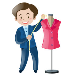 Tailor and pink suit vector