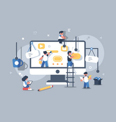 team of people building or designing computer app vector image
