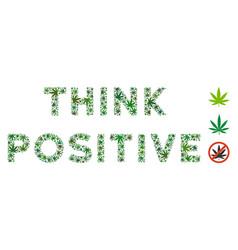 Think positive caption collage of marijuana vector