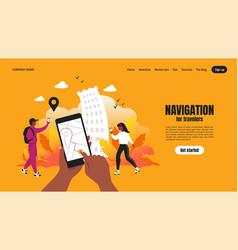travel app landing page smartphone application vector image