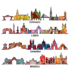 Triangular copenhagen lisbon edinburgh brussels vector