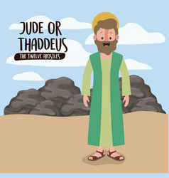 Twelve apostles poster with thaddeus in scene vector