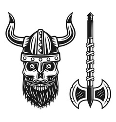 viking bearded skull in helmet and double axe vector image