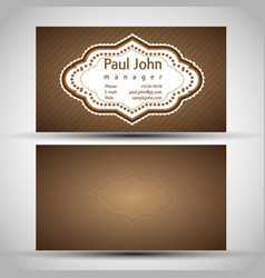 vintage business-card front and back vector image