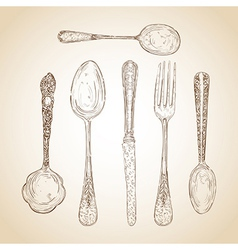 Vintage cutlery hand drawn set vector