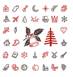 vintage woodcut winter season holidays icons vector image