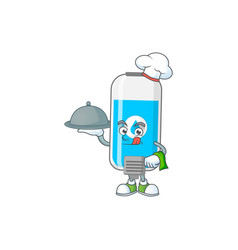 Wall hand sanitizer chef design with hat and tray vector
