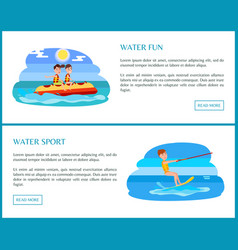 water sport web set with text vector image
