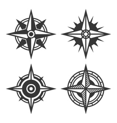 Wind Rose Retro Style Set vector