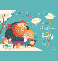 winter fun happy family at winter vacation vector image