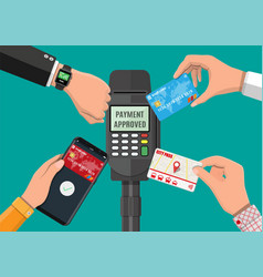 Wireless contactless or cashless payments vector