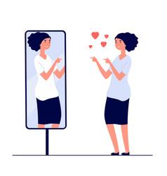 woman at mirror mirrored happy girl cartoon vector image