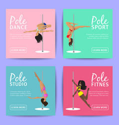Woman pole dancing studio cards sexy female vector