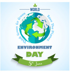 world environment day background with green arrows vector image
