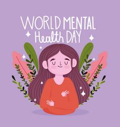 world mental health day girl fliage nature vector image