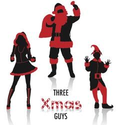 xmas guys silhouettes vector image