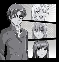 Young manga faces cartoons vector