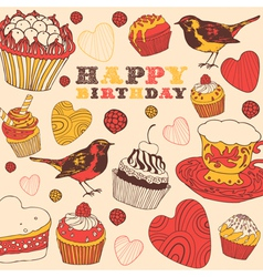 Cupcakes Birthday Card vector image vector image