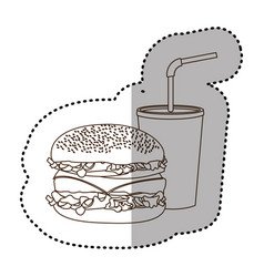 figure hamburger and soda flat icon vector image