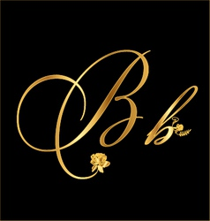 Gold letter B with roses vector image