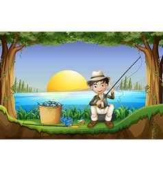Man fishing by the lake vector image vector image